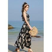 BC9839海灘度假吊帶連衣裙外罩衫
