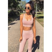 BYG9755 Lady Yoga Fitness Crop Top and Leggings Two Pieces Set