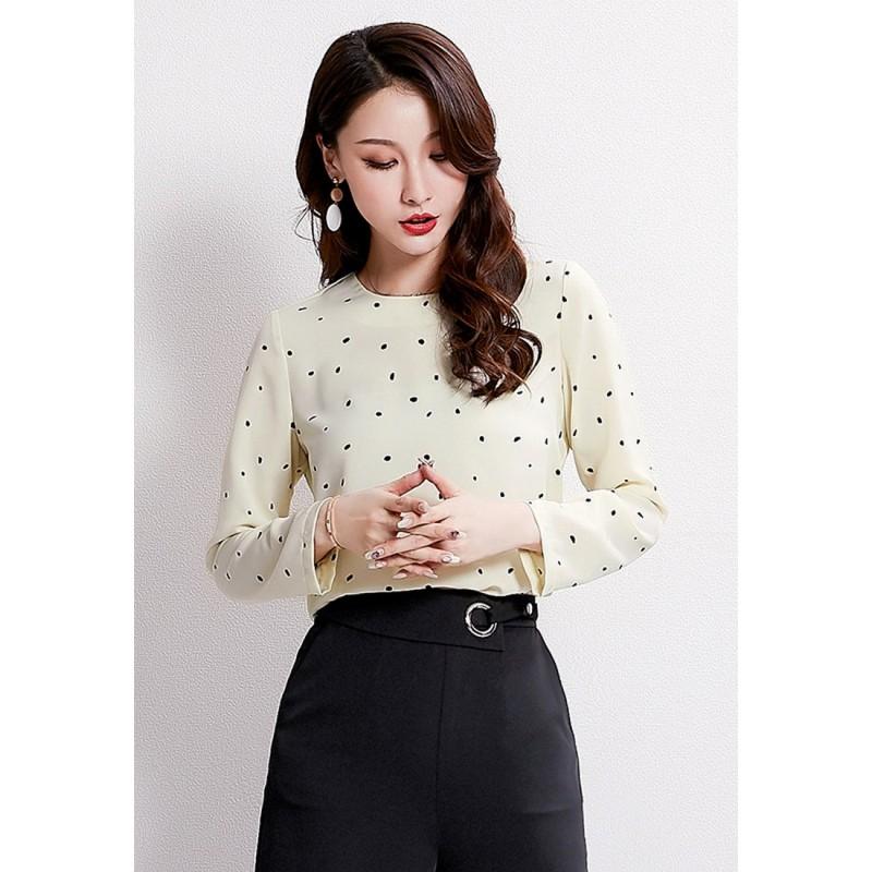 LCC8001 Korean Style Autumn_Winter Dot Printed Round Neck Long Sleeve Blouse