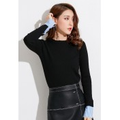 LCC8002 Korean Style Autumn_Winter Knitted Round Neck Long Sleeve Blouse