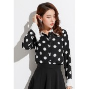 LCC8004 Korean Style Autumn_Winter Chiffon Dot Printed Flare Sleeve Blouse