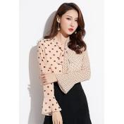 LCC8005 Korean Style Autumn_Winter Chiffon Dot Printed Long Sleeve Blouse