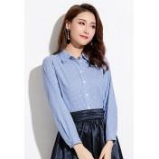 LCC8006 Korean Style Autumn_Winter Striped Pattern Long Sleeve Shirt