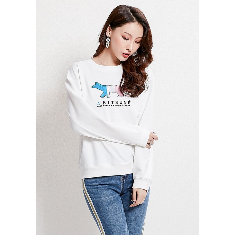 LCC8007 Korean Style Autumn_Winter Round Neck Embriodery Long Sleeve Sweater