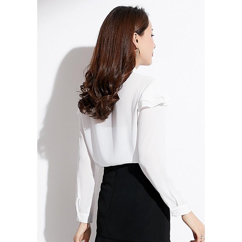 LCC8015韓風時尚秋冬女士荷葉邊蝴蝶結長袖上衣