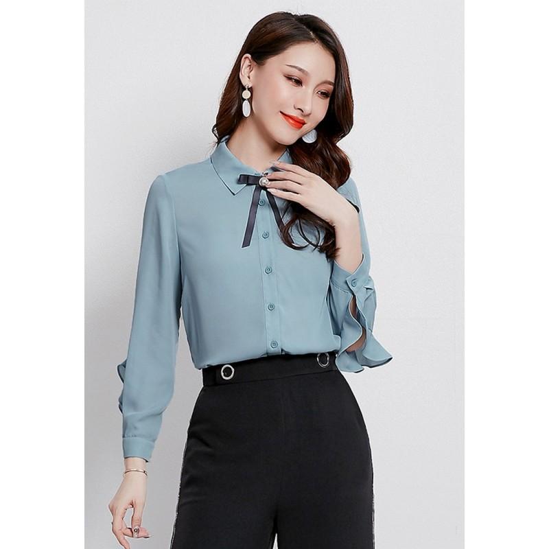 LCC8016韓風時尚秋冬女士翻領釘珠雪紡襯衫