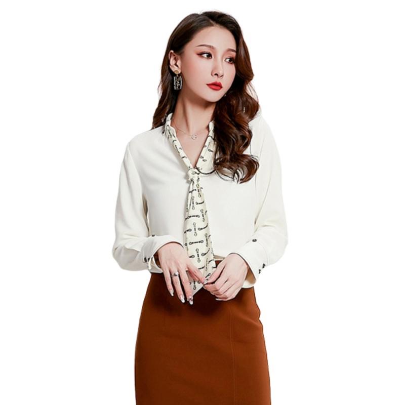 LCC8019韓風時尚秋冬女士V領雪紡襯衫