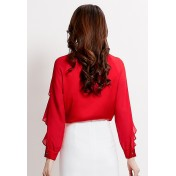 LCC8020 Korean Style Autumn_Winter Lady Round Neck Ruffled Top Long Sleeve Blouse