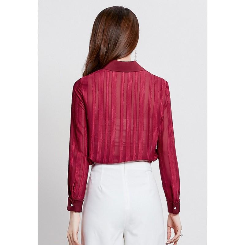 LCC8023韓風時尚秋冬女士純色半透上衣翻領長袖上衣