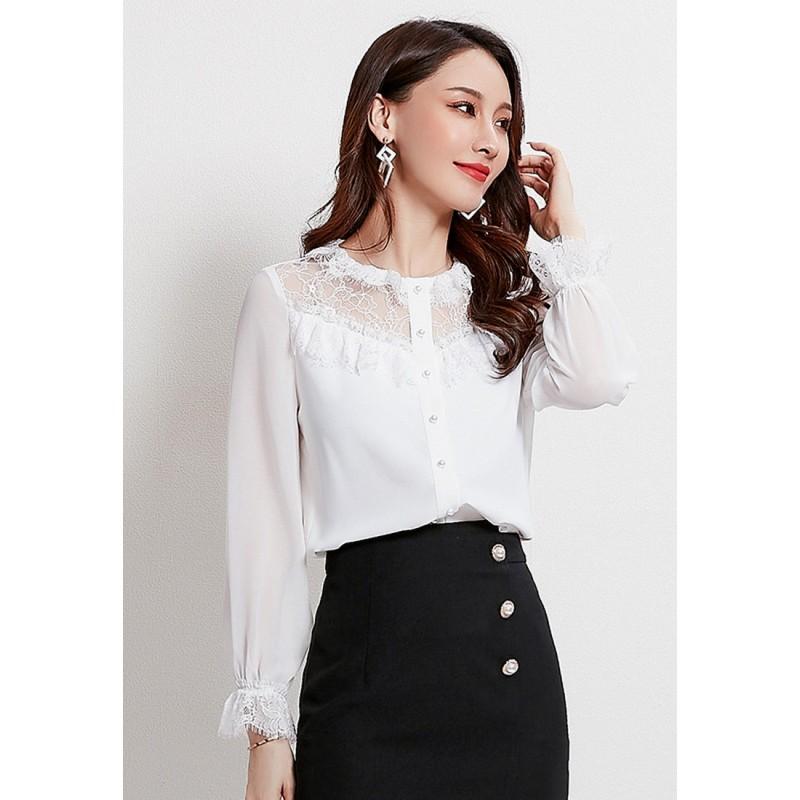 LCC8025 Korean Style Autumn_Winter Lady Round Neck Chiffon Long Sleeve Blouse