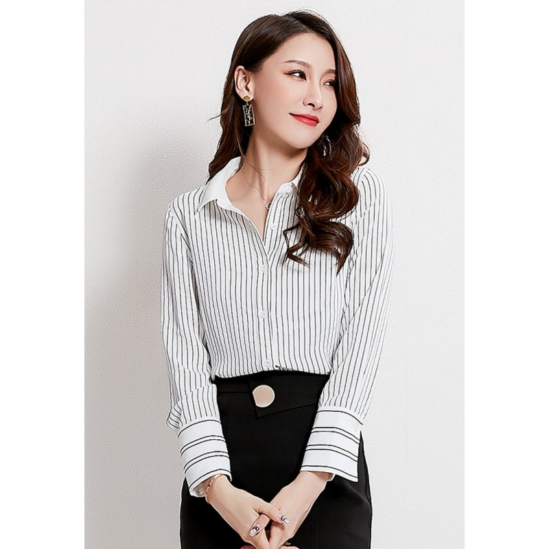 LCC8030韓風時尚秋冬女士純色開領白色條紋襯衫