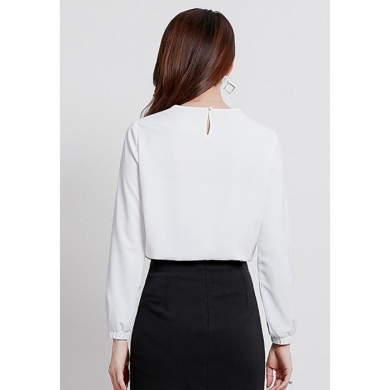 LCC8036韓風時尚秋冬女士褶皺純色娃娃領雪紡衫
