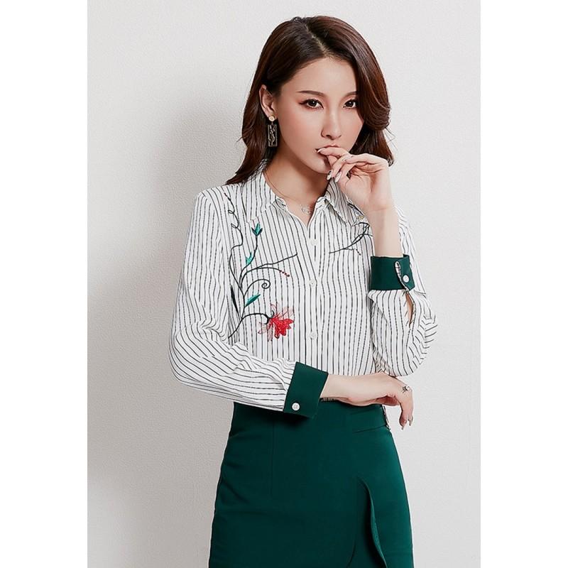 LCC8038韓風時尚秋冬女士繡花翻領長袖條紋襯衫