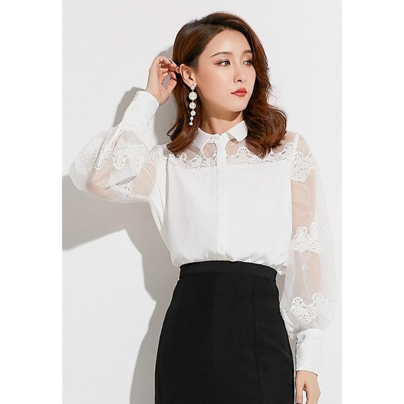 LCC8042韓風時尚秋冬女士透視燈籠袖長袖蕾絲衫