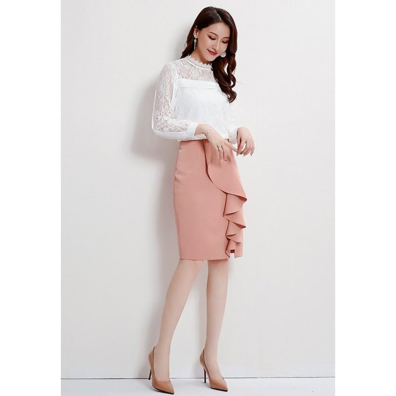 LCC8054韓風時尚秋冬女士高腰荷葉邊半身裙