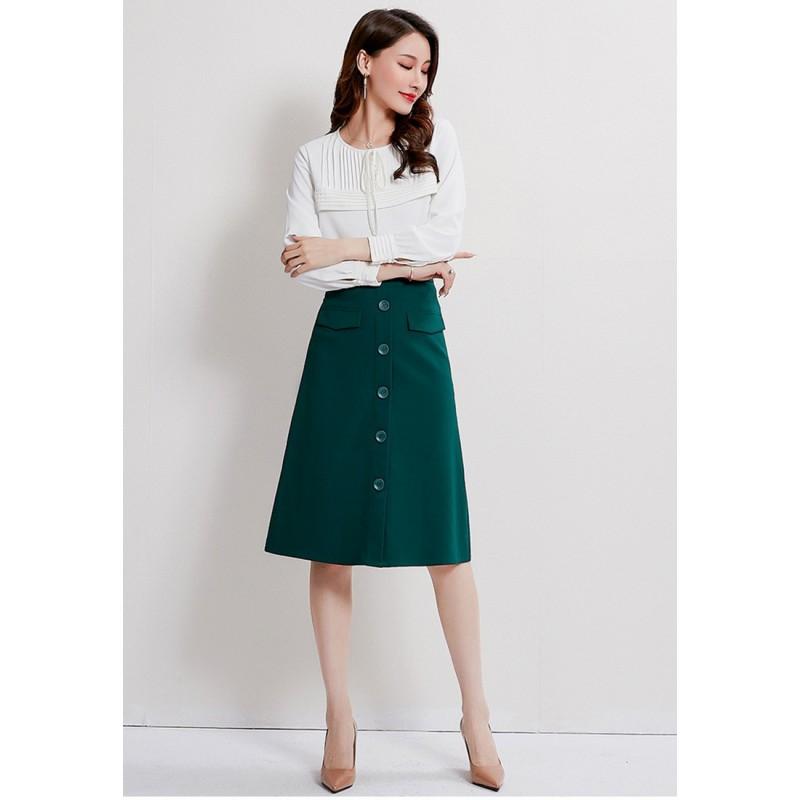 LCC8058 Korean Style Autumn_Winter Lady A_Line Pleated Midi Skirt