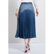 LCC8060 Korean Style Autumn_Winter Lady Package Hip Pleated Maxi Skirt
