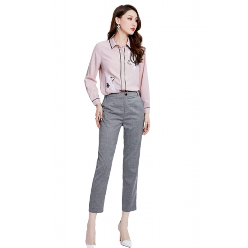 LCC8062 Korean Style Autumn_Winter Lady High Waistline Staightline Pants