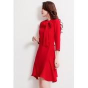 LCC8069 Korean Style Autumn_Winter Lady Solid Colour High Neckline One Piece Dress