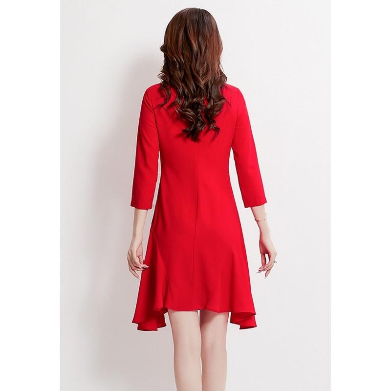 LCC8069韓風時尚秋冬女士純色半高領連衣裙