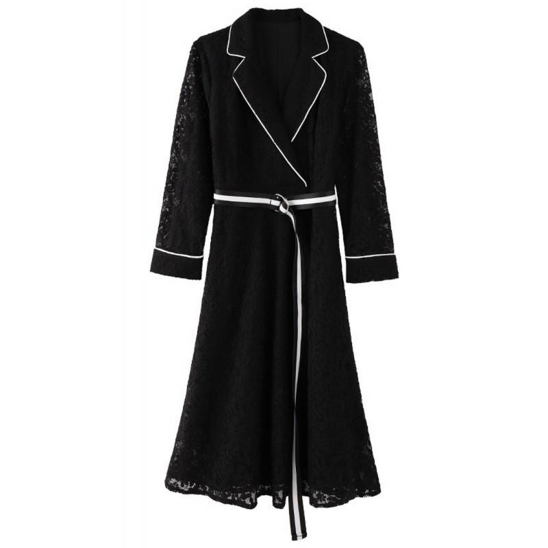 LCC8071韓風時尚秋冬女士刺繡鏤空裙蕾絲連衣裙
