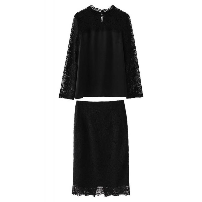 LCC8072 Korean Style Autumn_Winter Lady Lace One Piece Dress