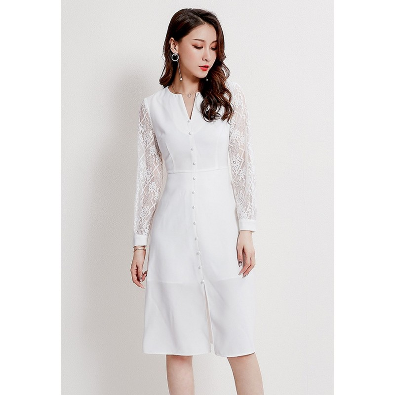 LCC8073韓風時尚秋冬女士刺繡鏤空裙蕾絲連衣裙