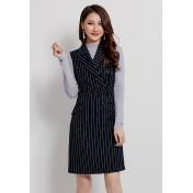 LCC8075 Korean Style Autumn_Winter Lady Stripe Sleeveless One Piece Dress