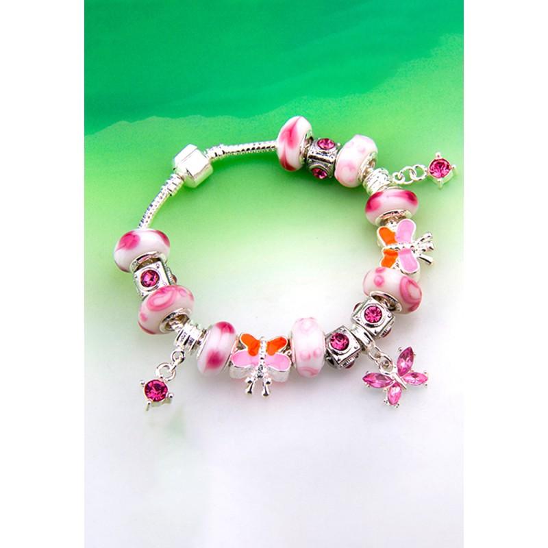 LCH6002 Romantic Pink Butterfly Charm Bracelet