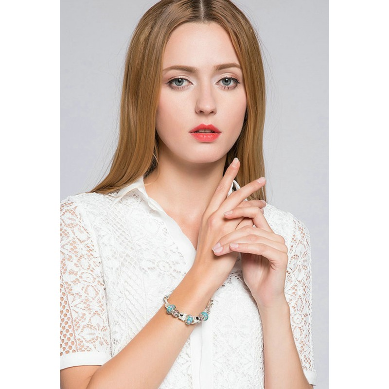 LCH6005 Elegant Mint Green Charm Bracelet