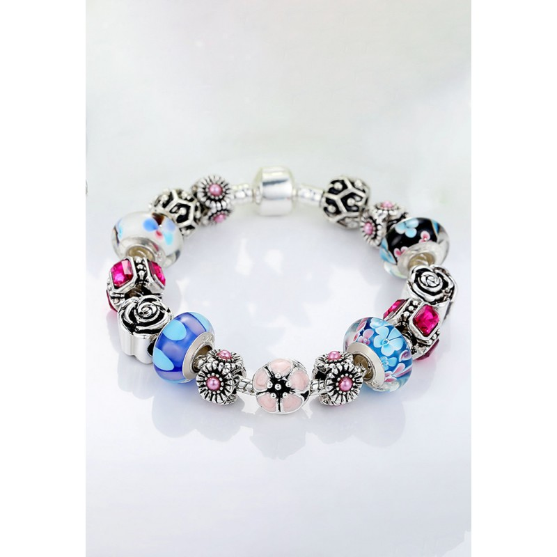 LCH6006 Ethnic-themed Glazed Glass Charm Bracelet