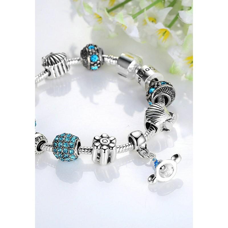 LCH6019 Blue Acrylic Glazed Glass Charm Bracelet
