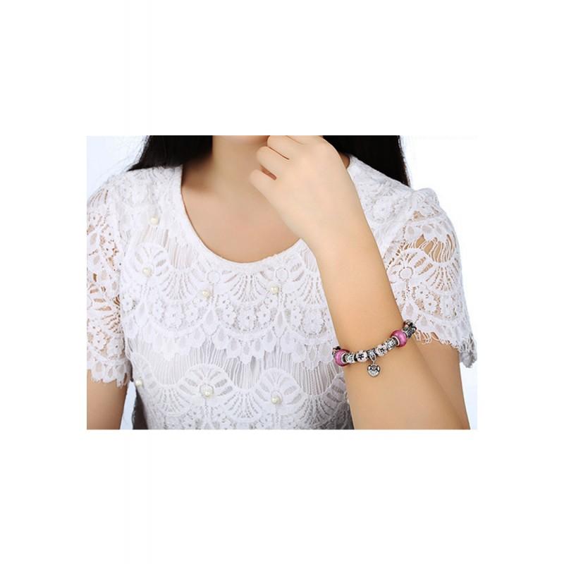 LCH6022 Romantic Pink Glazed Glass Charm Bracelet