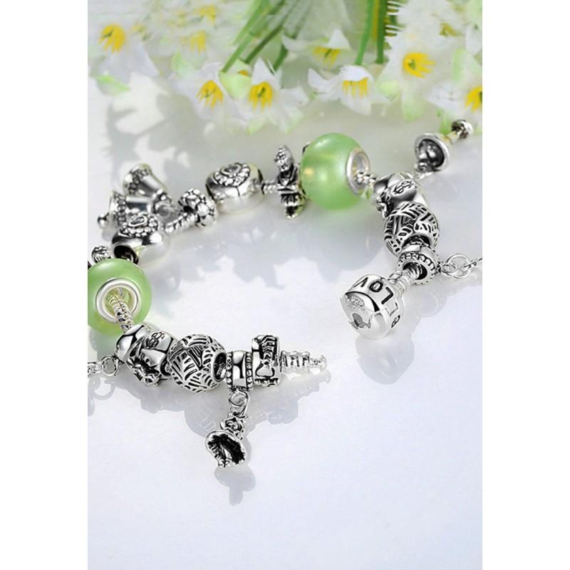 LCH6024 Mint Green Acrylic Glazed Glass Charm Bracelet