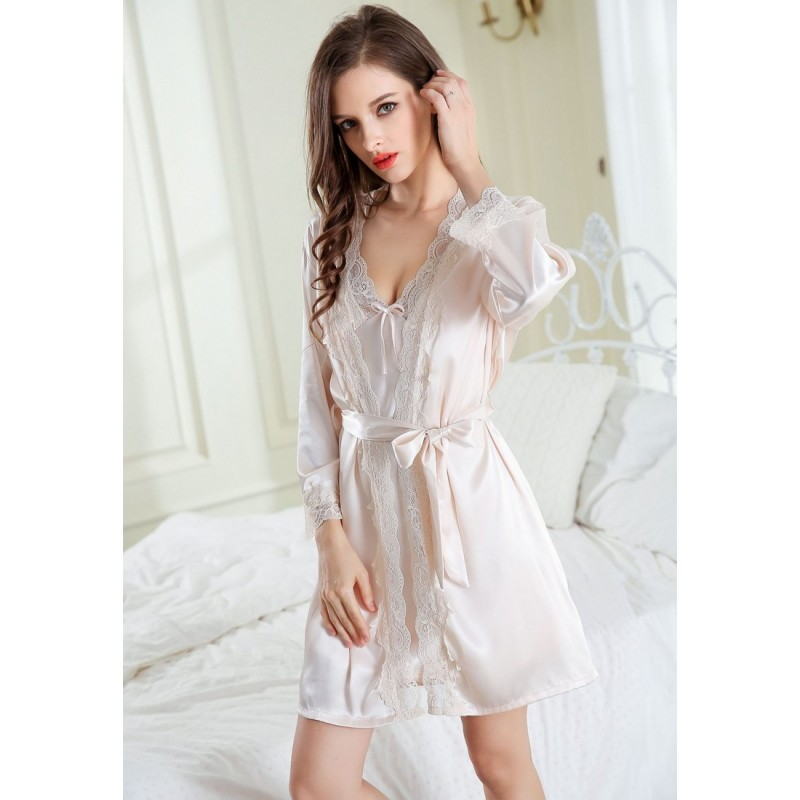 LCL9554 European Style Lady Sexy Lace Sleepwear Nighgown