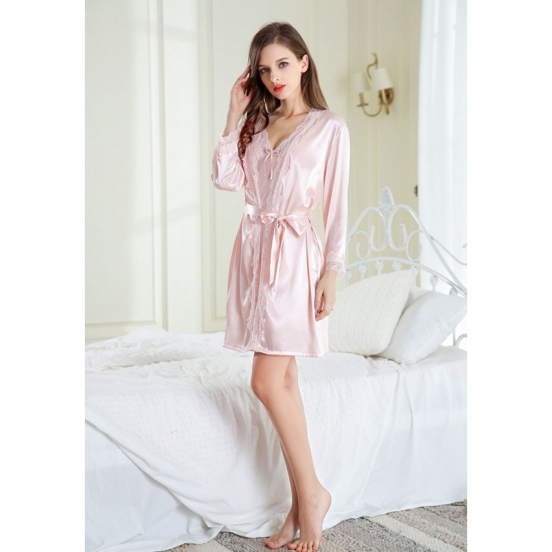 LCL9554 European Style Lady Sexy Lace Sleepwear Nighgown