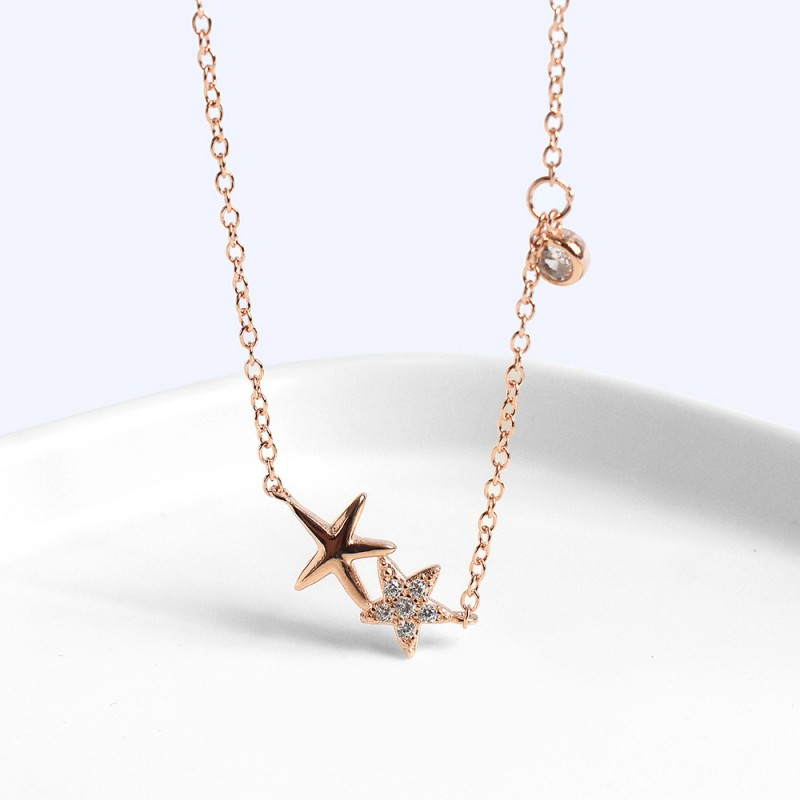 LDR8089 S925 Silver Sea Star Necklace