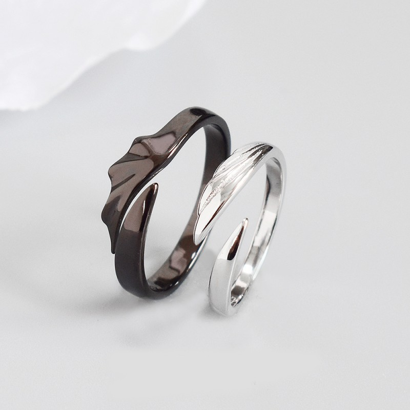 LDR8092 S925 Silver Angle Wings Lady Open Ring
