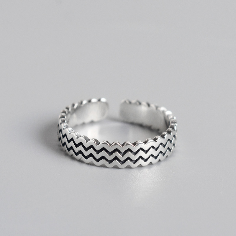 LDR8095 S925 Silver Vintage Starry Open Ring
