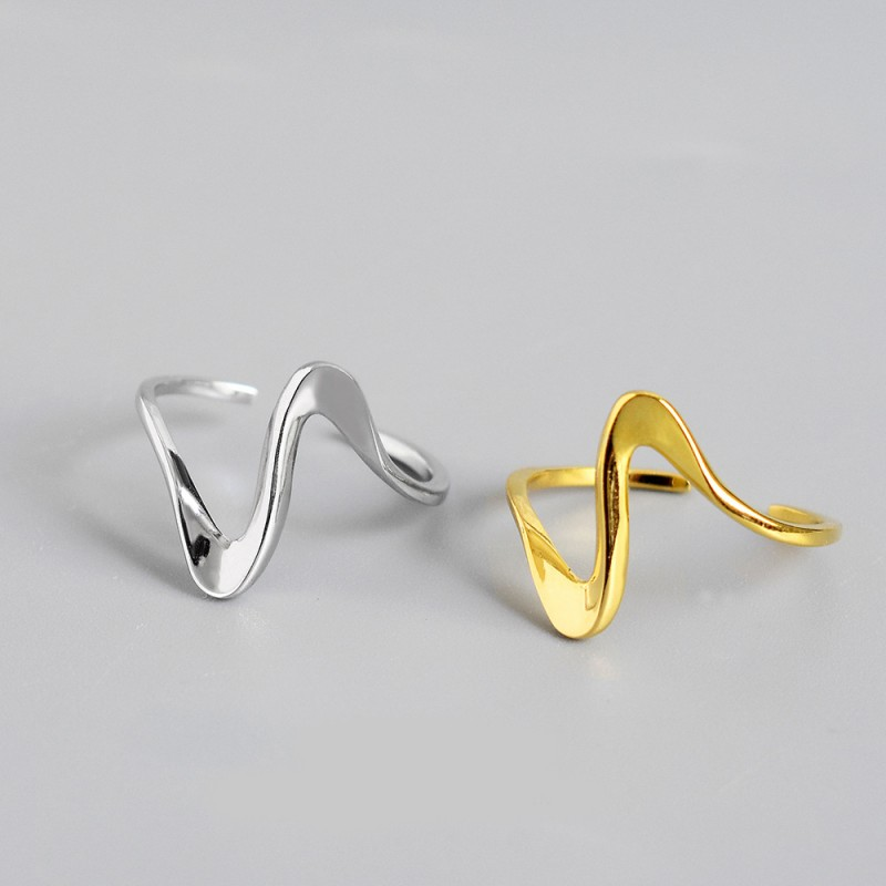 LDR8098 S925 Silver Sea Wave Open Ring