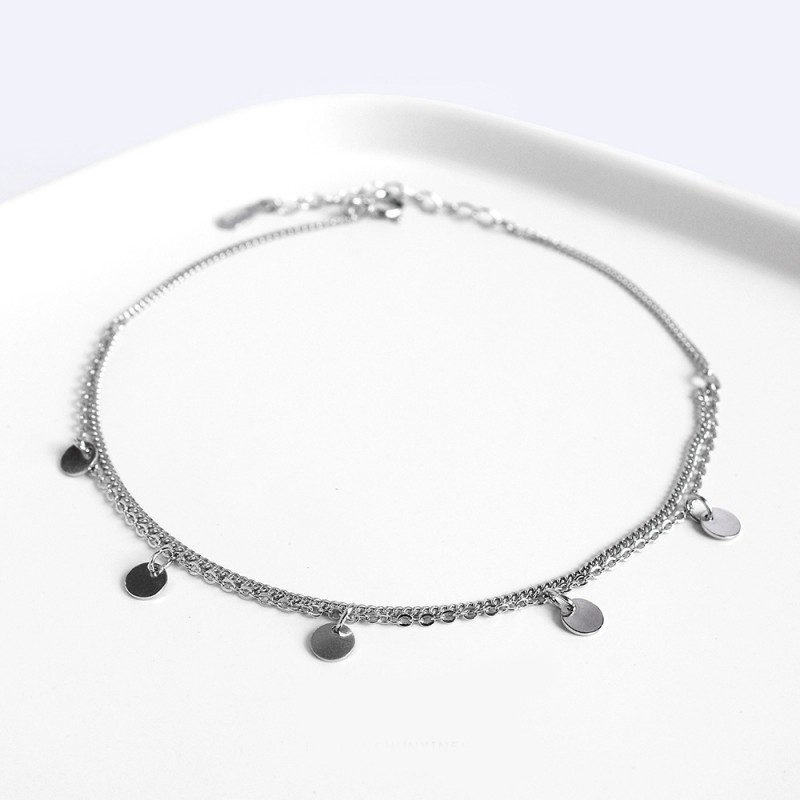LDR8105 S925 Silver Double Circle Anklet