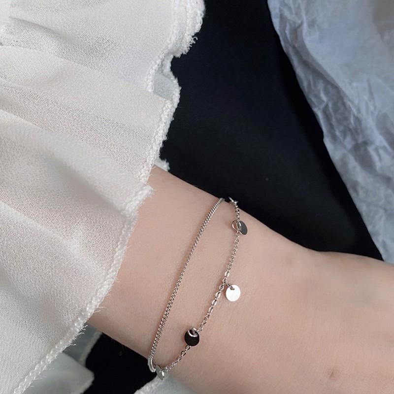LDR8107 S925 Silver Double Globe Bracelet