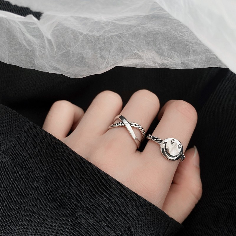 LDR8108 S925 Silver Smiley Open Ring