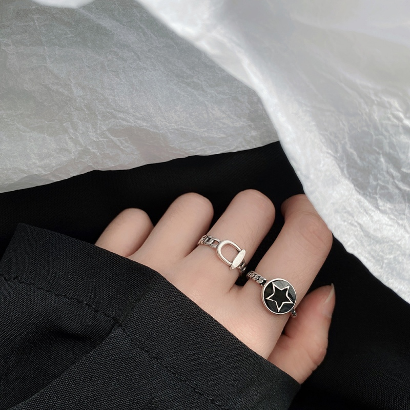 LDR8113 S925 Silver Black Star Open Ring