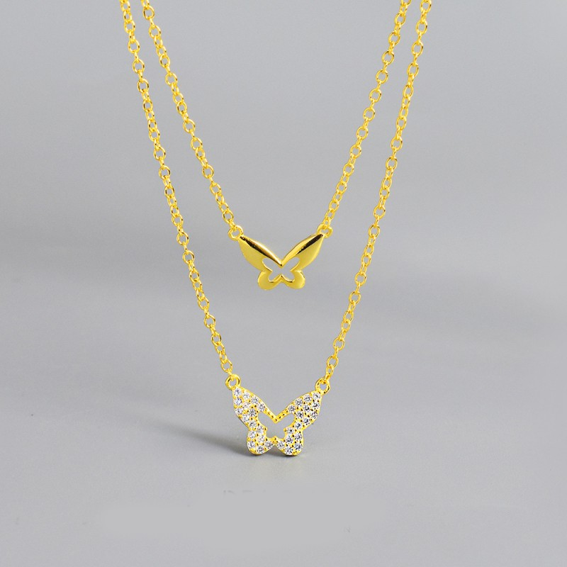 LDR8115 S925 Silver Butterfly Necklace