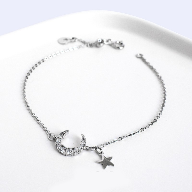 LDR8118 S925 Silver Star and Moon Bracelet