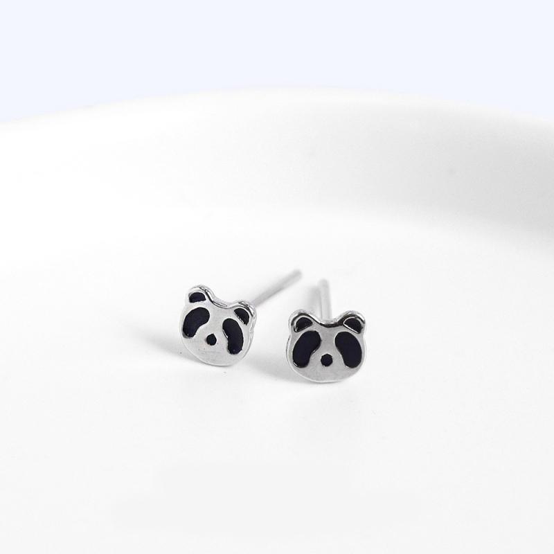 LDR8121 S925 Silver Panda Earrings