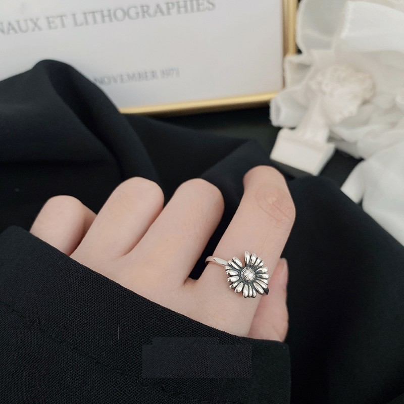 LDR8122 S925 Silver Daisy Open Ring