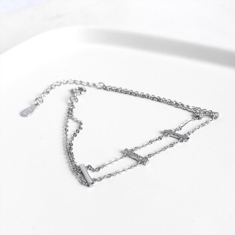 LDR8128 S925 Silver Double Layers Bracelet