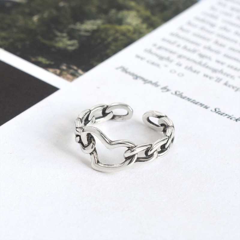 LDR8129 S925 Silver Lover Heart Open Ring